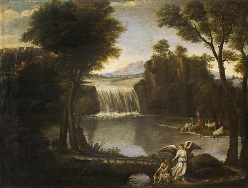 """2: """"Scuola romana, secolo XVII"""" """"Paesaggio fluviale c"""