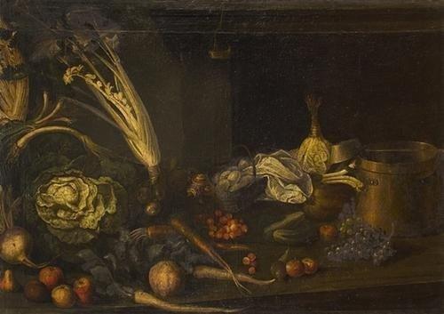 """13: """"Scuola toscana, secolo XVII"""" """"Frutta e ortaggi su"""