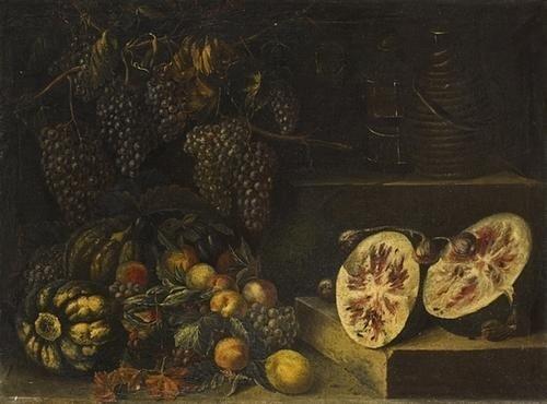 """14: """"Scuola toscana, secolo XVII"""" """"Uve, pesche, zucche"""