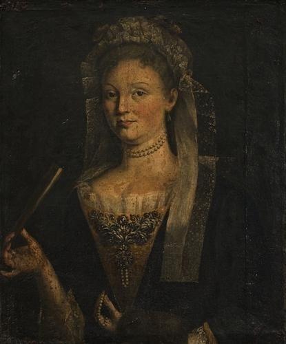 """21: """"Scuola romana, secolo XVIII"""" """"Ritratto di dama co"""