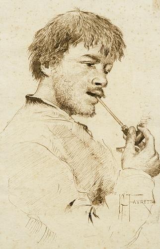 2: Giacomo Favretto (1849-1887) Ritratto di giovane u