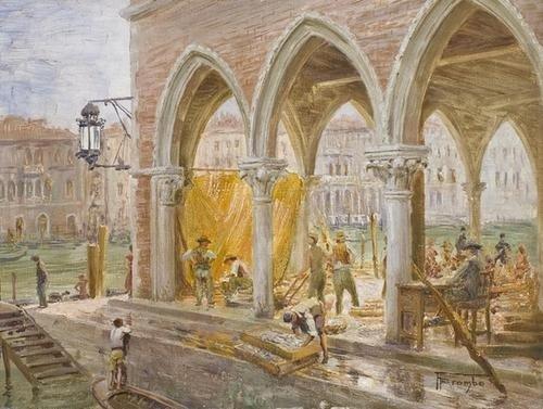 10: Angelo Brombo (1893-1962) Venezia, il mercato del