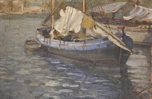 """11: Giuseppe Lallich (1867-1953) """"Barche nel porto di"""