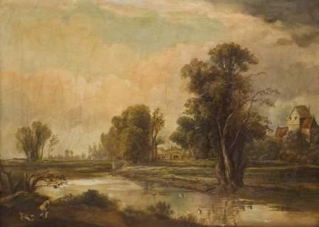 13: Scuola nord europea del XIX secolo Paesaggio fluvi