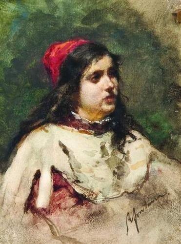 20: Roberto Fontana (1844-1907) Giovane ragazza con ca