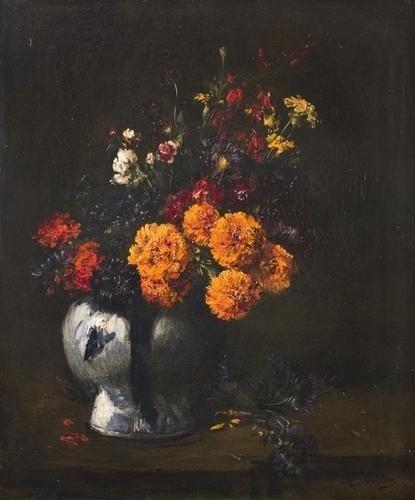 74: Antoine Vollon (1833-1900)   Natura morta di fiori