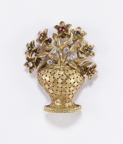 10: Spilla francese in oro satinato 18kt con diamanti