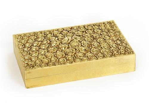 163: Scatola in oro 18 kt  di forma rettangolare, lavor