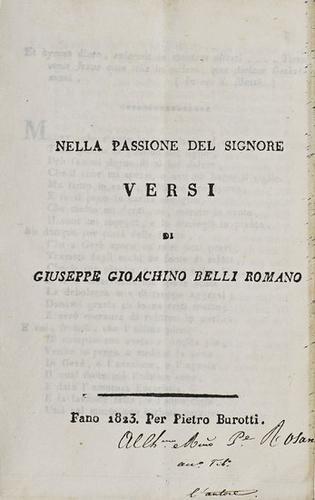 3: Belli, Giuseppe Gioacchino. Nella passione del Sig
