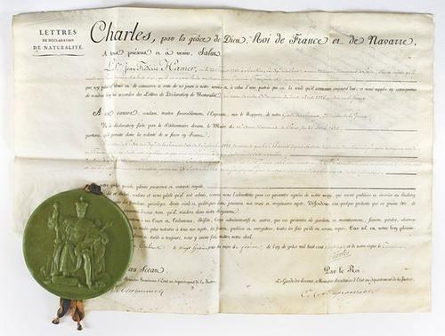 7: Carlo X di Francia. Diploma.