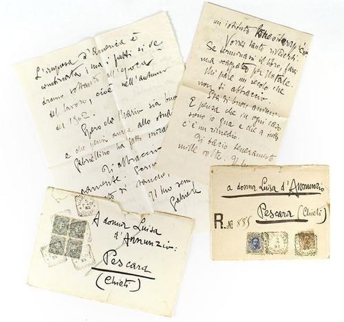 13: D'Annunzio, Gabriele. Lettere, volumi, telegrammi