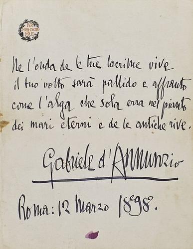 14: D'Annunzio, Gabriele. Pagina con dedica autografa