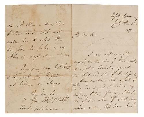 24: Lawrence,  Thomas Sir. Lettera autografa e firmata