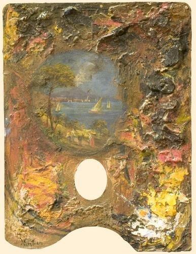 3: Scuola napoletana Tavolozza del pittore con veduta