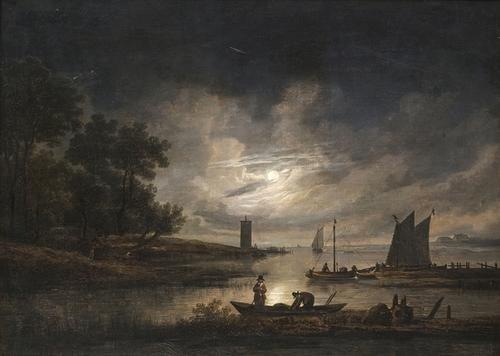 8: Seguace di Aert van der Neer Paesaggio fluviale al