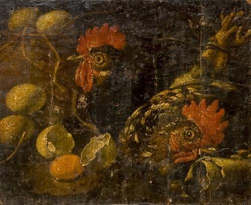 35: Scuola italiana, secolo XVII Galline