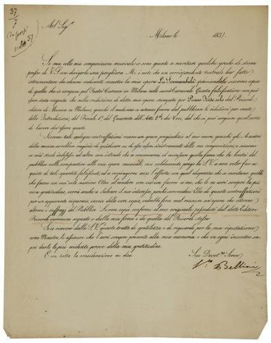 2: Bellini, Vincenzo. Lettera sottoscritta.