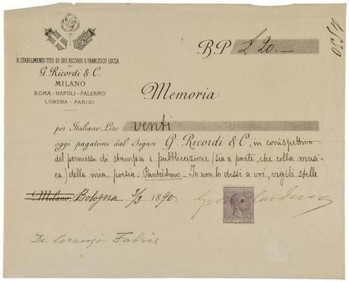 16: Carducci, Giosué. Memoria di pagamento firmata.