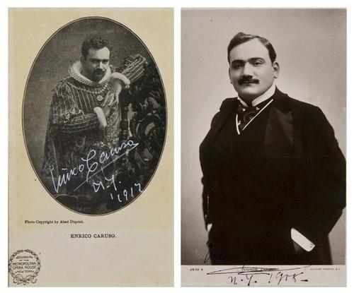 18: Caruso, Enrico. Due foto/cartoline autografate.
