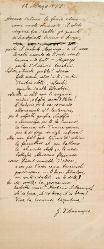 22: D'Annunzio, Gabriele. 12 Marzo 1882.  Componimento
