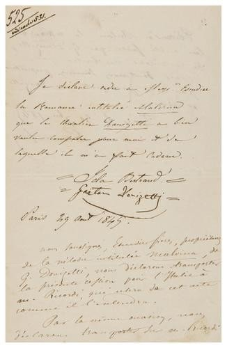 30: Donizetti, Gaetano. Cessione di diritti, sottoscri