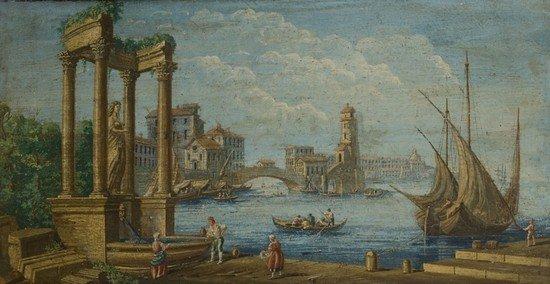 9: Scuola veneta,  secolo XIX Coppia di vedute di por