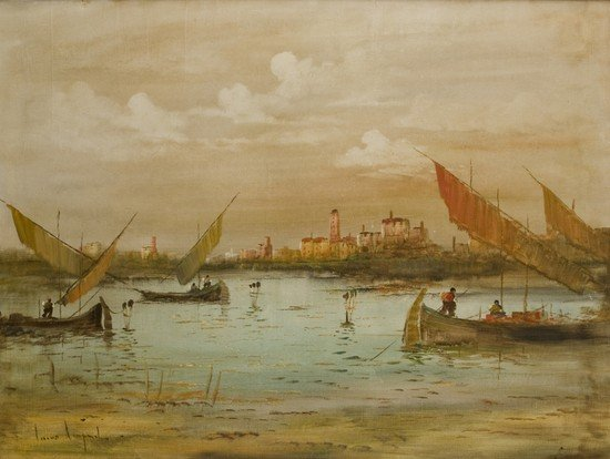 14: Lucio Cargnel (1903-1998)   Barche in laguna