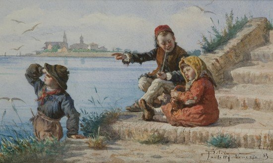 20: Silvio Paoletti (Venezia 1864 - 1921)  Fanciulli a