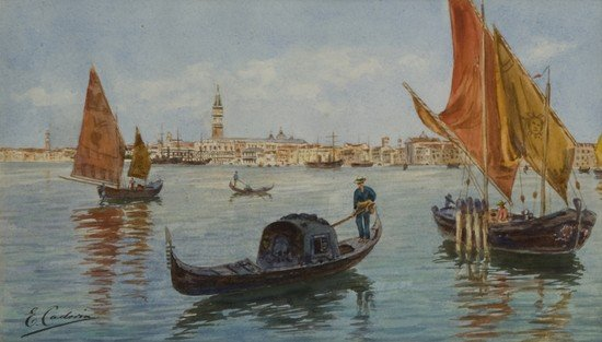 21: Ettore Cadorin (1876-1952)   Gondole a Venezia