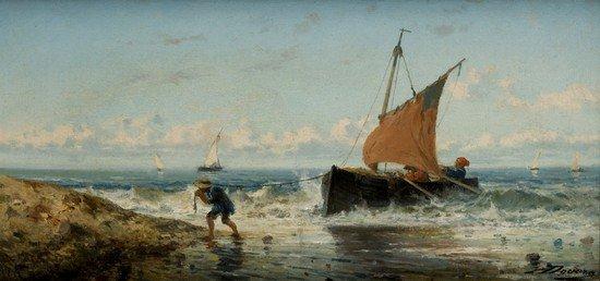24: Achille Dovera (Milano, 1838 - 1895) Barca e pesca