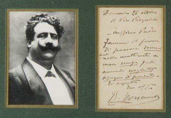 21: Leoncavallo, Ruggero. Lettera autografa firmata in
