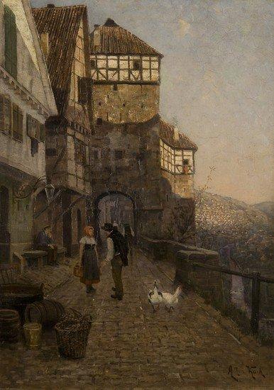 193: Arthur Kock (1862-1936)   Scena di vita in un paes