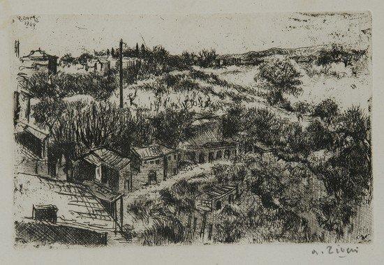 212: Alberto Ziveri (Roma, 1908 - 1990) Veduta di Vigna
