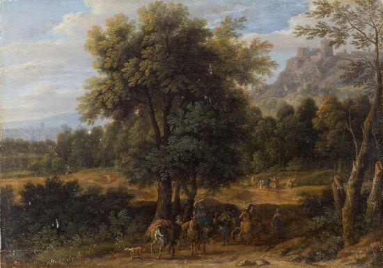 1: Scuola fiamminga, secolo XVIII Paesaggio boschivo