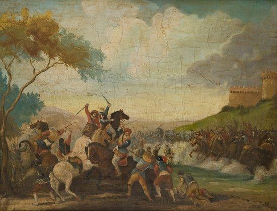 3: Pittore popolare, secolo XIX Scontro di cavalieri
