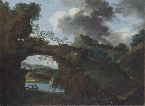 9: Scuola romana, inizi secolo XVIII  Paesaggio fluvi