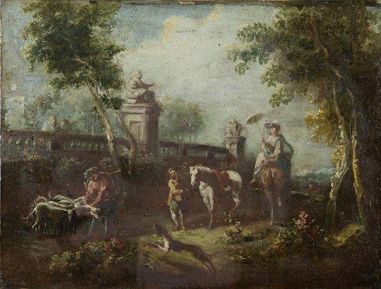 15: Scuola veneta, secolo XIX Passeggiata in giardino