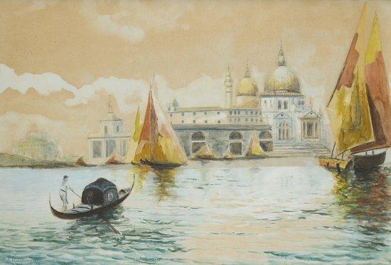 15: E. H. Hosperger (1891 - 1960) Venezia, gondola e v