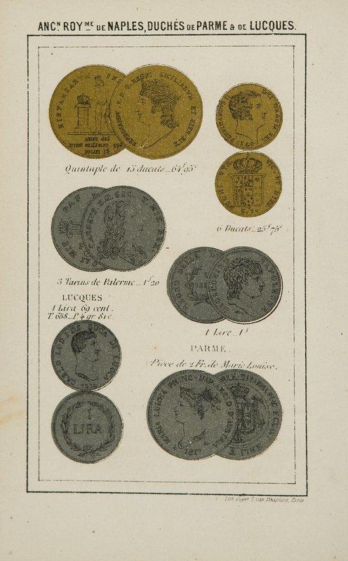724: Numismatica Tableau des monnaies d'or et d'argent