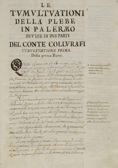740: Palermo - Collurafi, Antonino Le tumultuazioni del