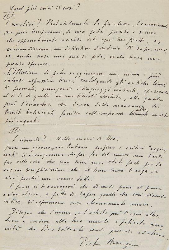 5: Annigoni, Pietro. Lettera autografa e firmata.