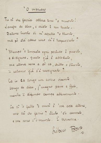24: Boito, Libero Poesia autografa firmata