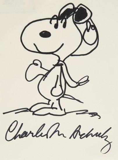 339: Snoopy - Schulz, Charles Monroe. Disegno firmato.