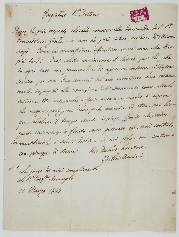 3: Amici, Giovanni Battista Lettera autografa firmata