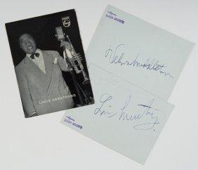 Armstrong, Louis Autografi Su Cartoncino