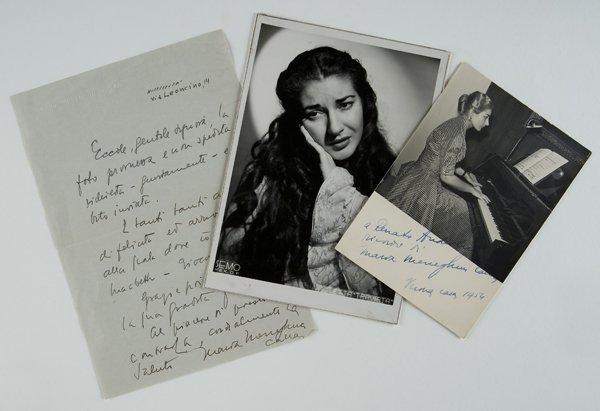 17: Callas, Maria Fotografie autografe con dedica e let