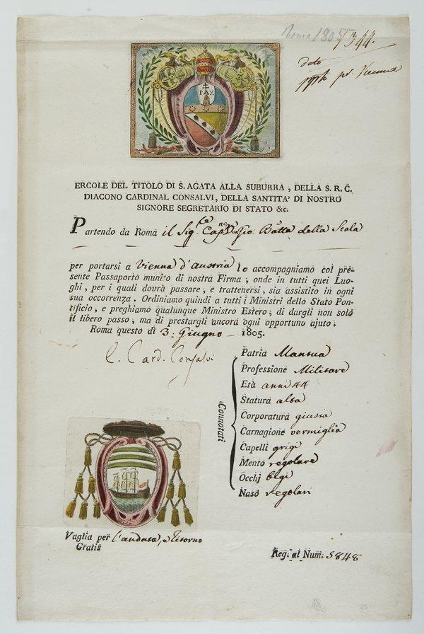 19: Cardinal Consalvi  Lettera sottoscritta e Passaport