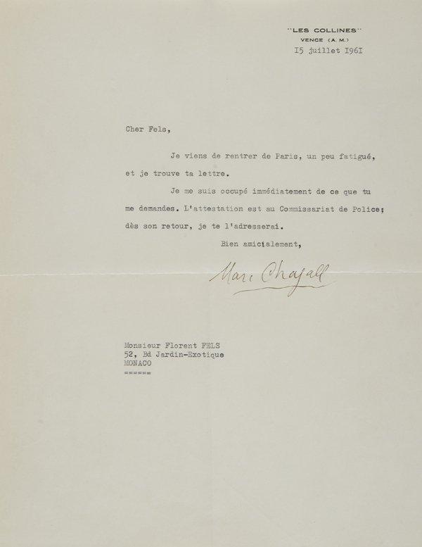 23: Chagall, Marc Lettera dattiloscritta firmata