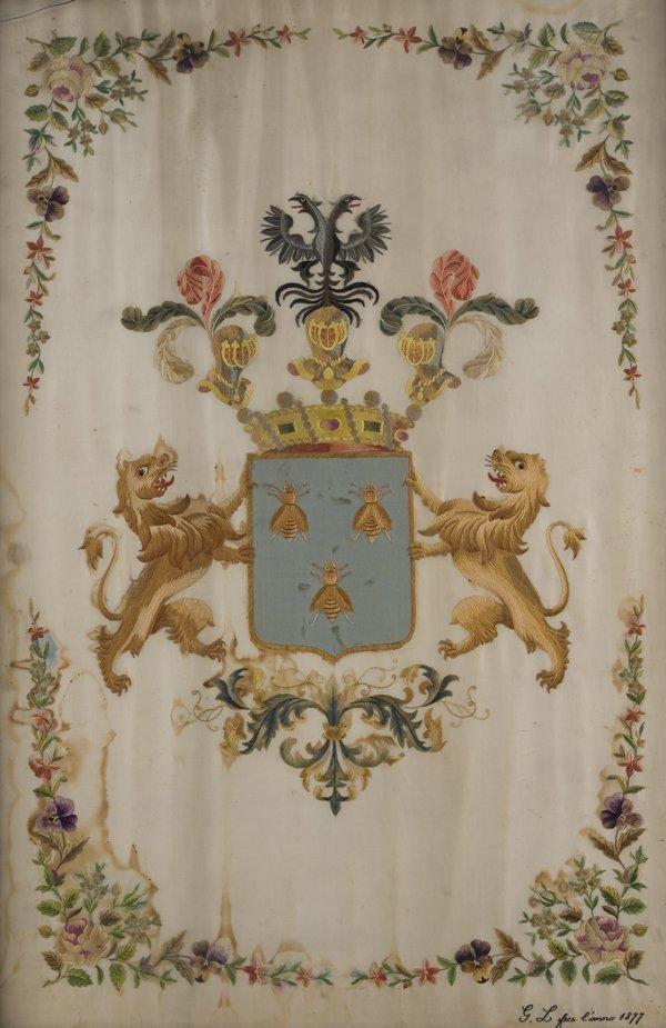 14: Stemma baronale ricamato su seta, Scuola italiana 1