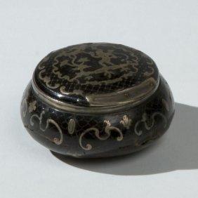 18: Scatolina circolare in tartaruga con decorazione pi